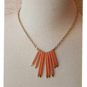 Statement Necklace--Gold with Orange Detail